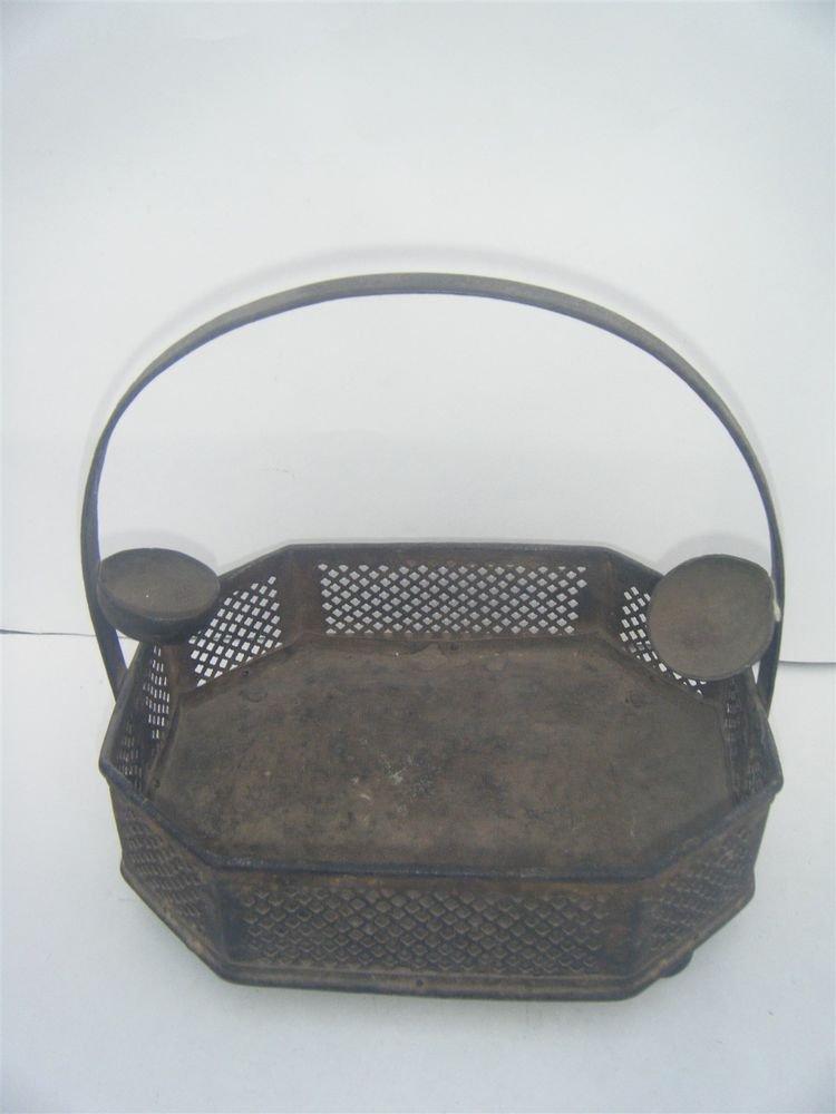 Brass Basket Rare Antique Decorative Flower Fruit Basket Collectible Old #998