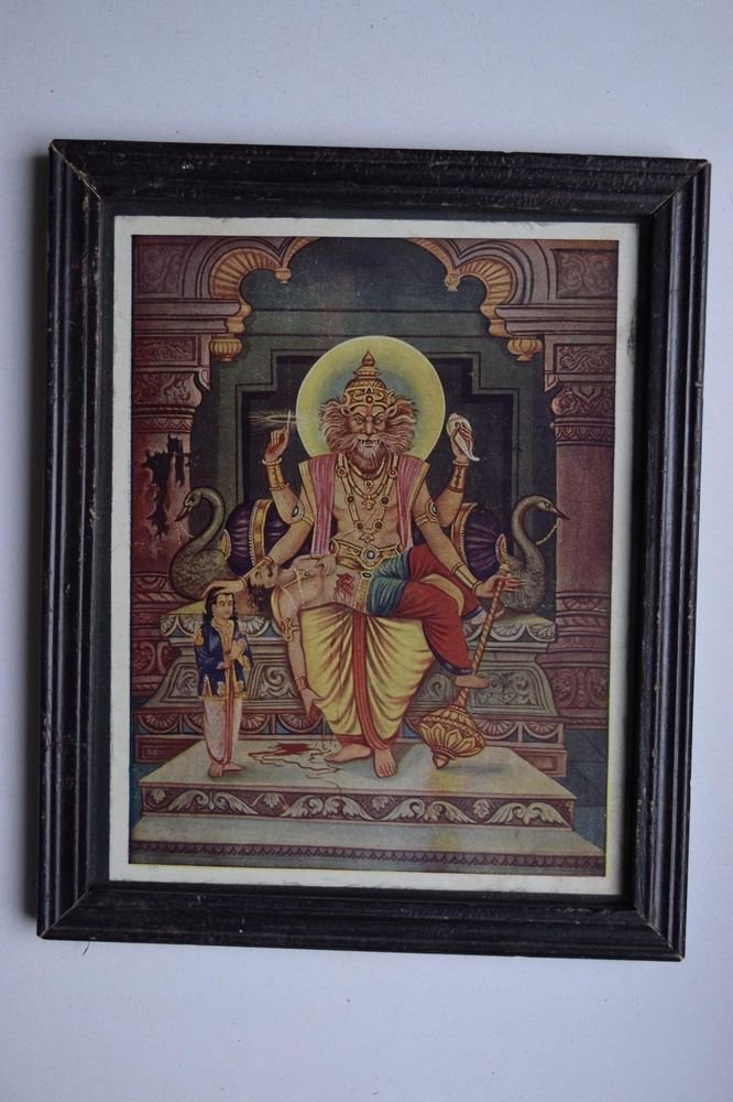 God Vishnu Avatar Collectible Old Religious Print in Old Wooden Frame #3167