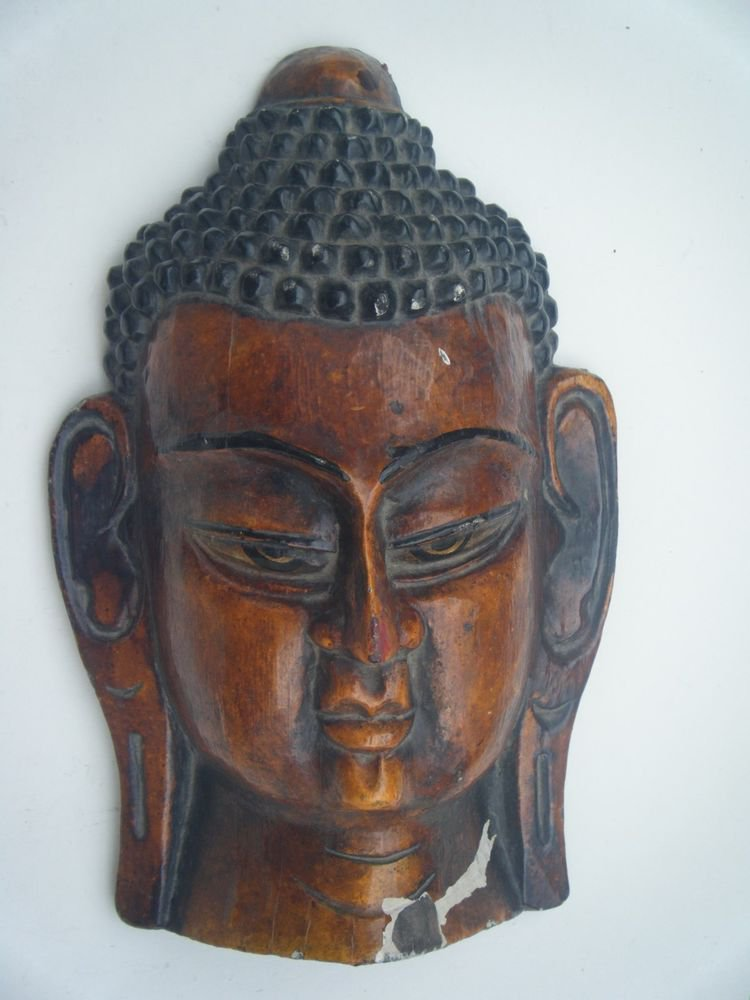 BUDDHA HEAD MASK OLD HAND PAINTED WOODEN MASK WALL HANGING RARE INDIA #757