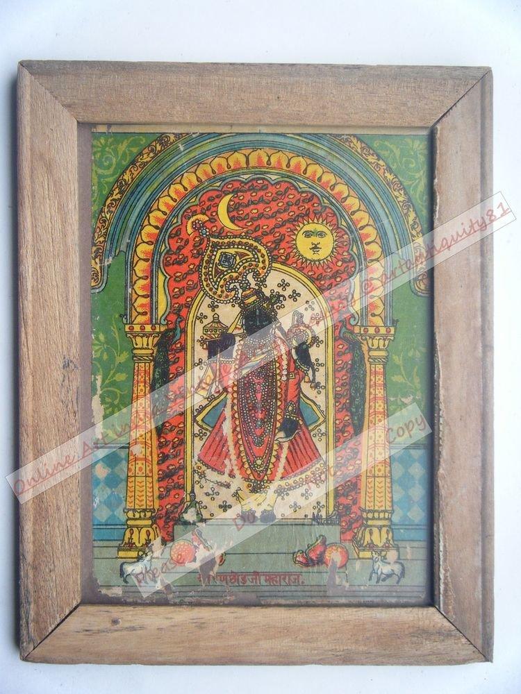Shrinathji Krishna Avatar Home Worship Old Print in Old Wooden Frame India #2555