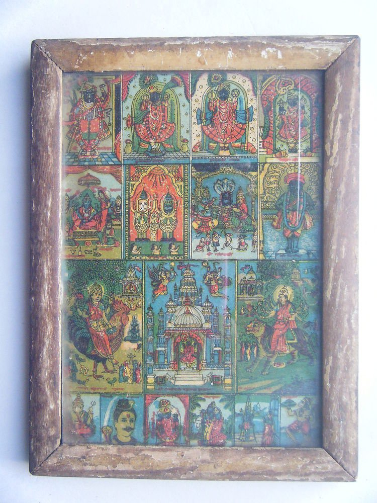 All Gods Krishna Rare Collectible Original Print in Old Wooden Frame India #2783
