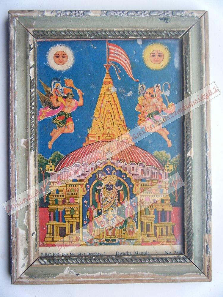 Dwarka Temple Krishna Decor Worship Old Print in Old Wooden Frame India #2546
