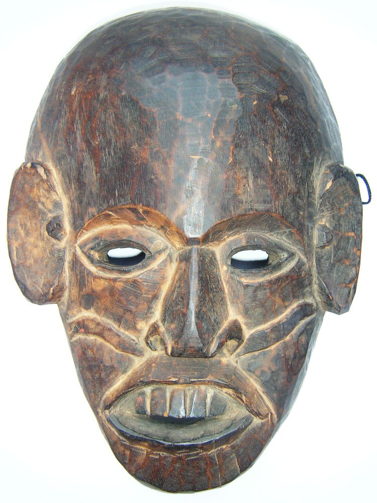 Tribal Wooden Mask, Old Rare Hand Coloured Handmade Original African Mask  #1588