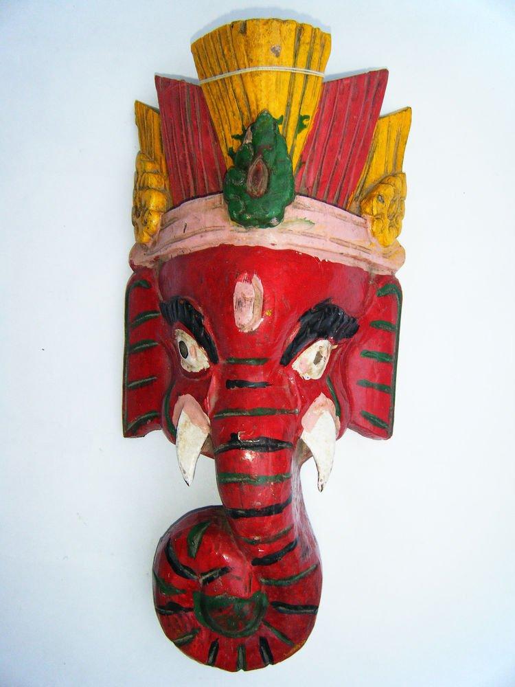 Ganesha Wooden Mask, Old Rare Hand Coloured Handmade Original Indian Mask  #1574