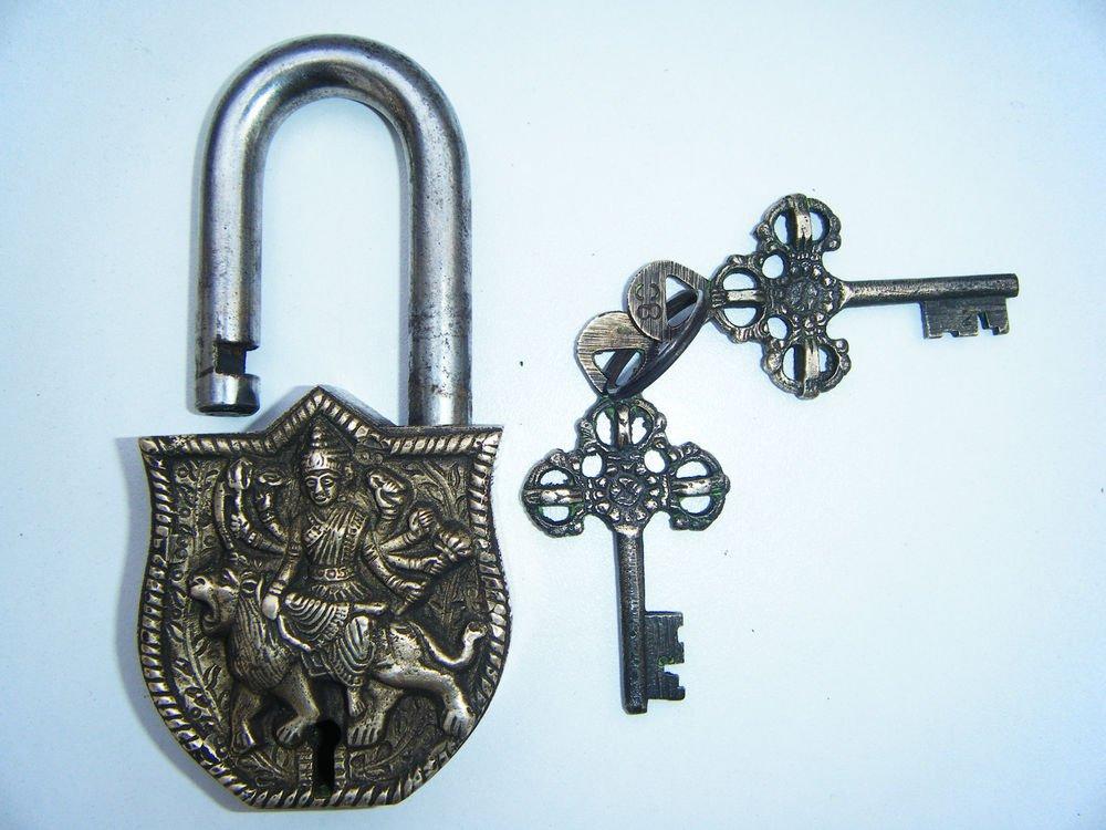 Brass Antique Finished Lock Handmade Heavy Pad Lock Rare India Working #1183