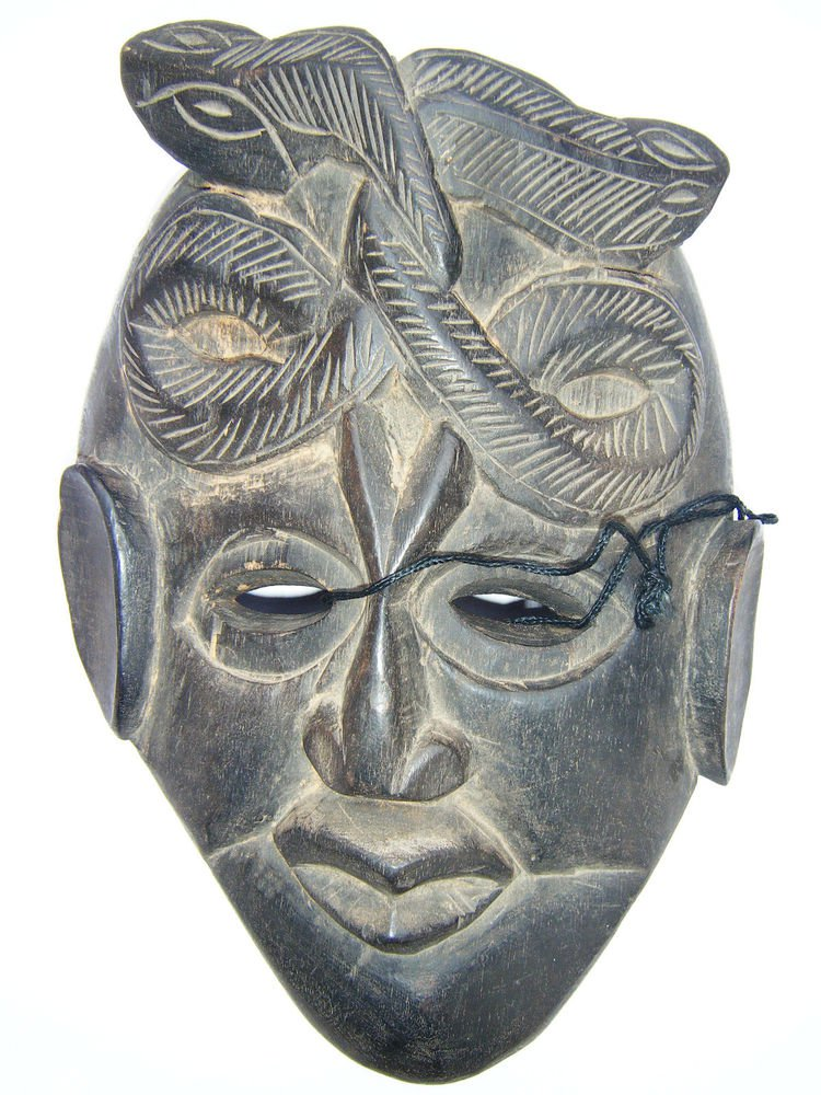 Tribal Wooden Mask, Old Rare Hand Coloured Handmade Original African Mask  #1585