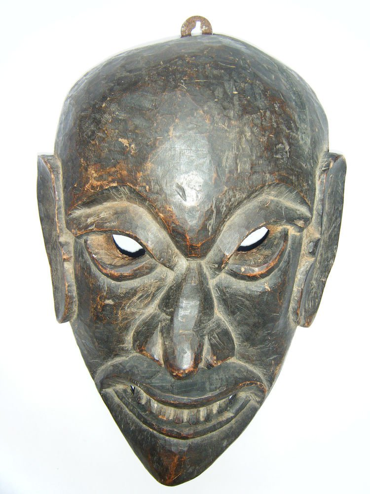 Tribal Wooden Mask, Old Rare Hand Coloured Handmade Original African Mask  #1586