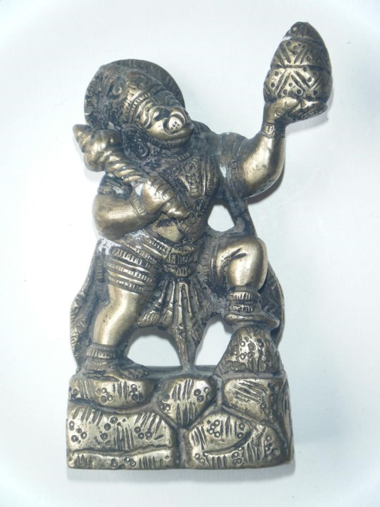 Antique Traditional Indian Brass Statue Monkey God Hanuman Rare Collectible #604
