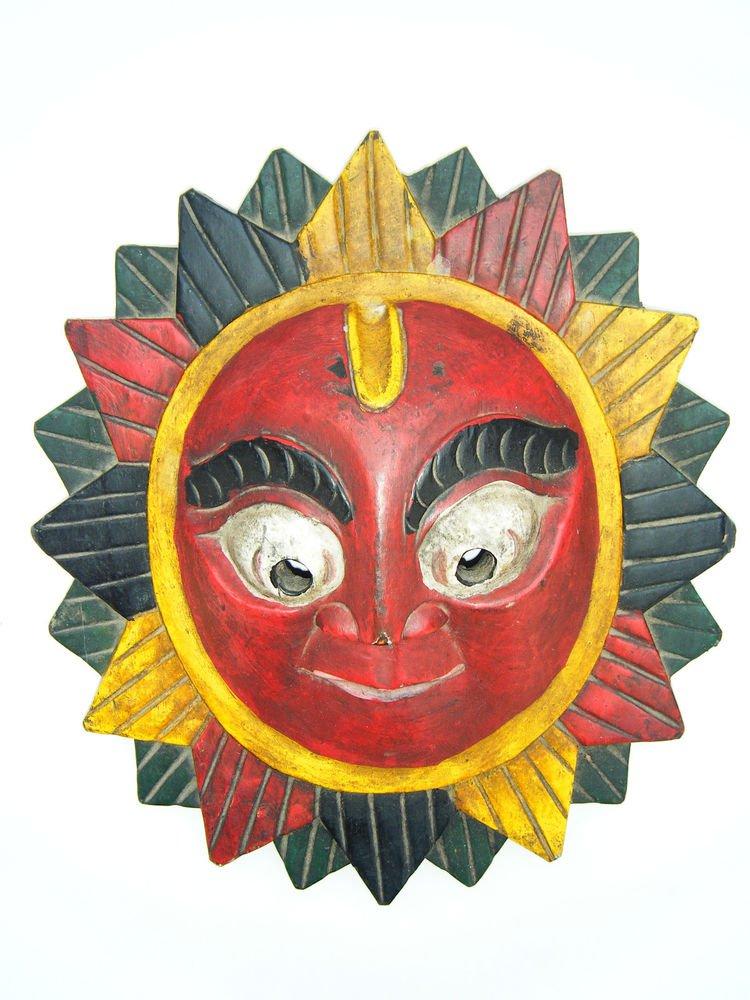Ganesha Wooden Mask, Old Rare Hand Coloured Handmade Original Indian Mask  #1583