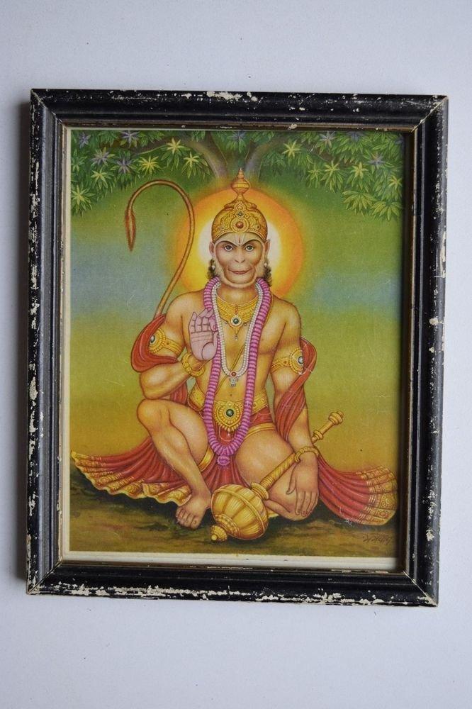 Monkey God Hanuman Collectible Original Print in Old Wooden Frame India #3152