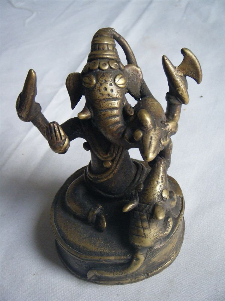 Antique Hindu God GANESHA Traditional Old Statue Brass Elephant God Rare #236