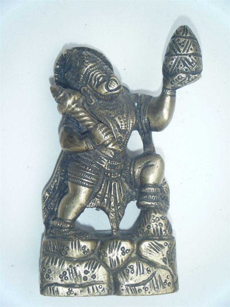 Brass Hanuman Antique Temple Statue Collectible Hindu Monkey God India #894