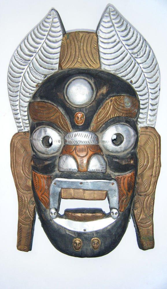 Tribal Wooden Mask, Old Rare Hand Coloured Handmade Original African Mask  #1590