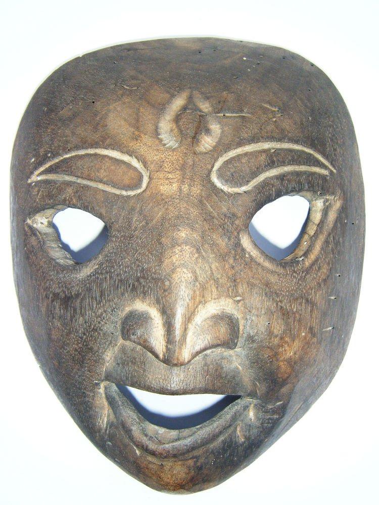 Tribal Wooden Mask, Old Rare Hand Coloured Handmade Original African Mask  #1593