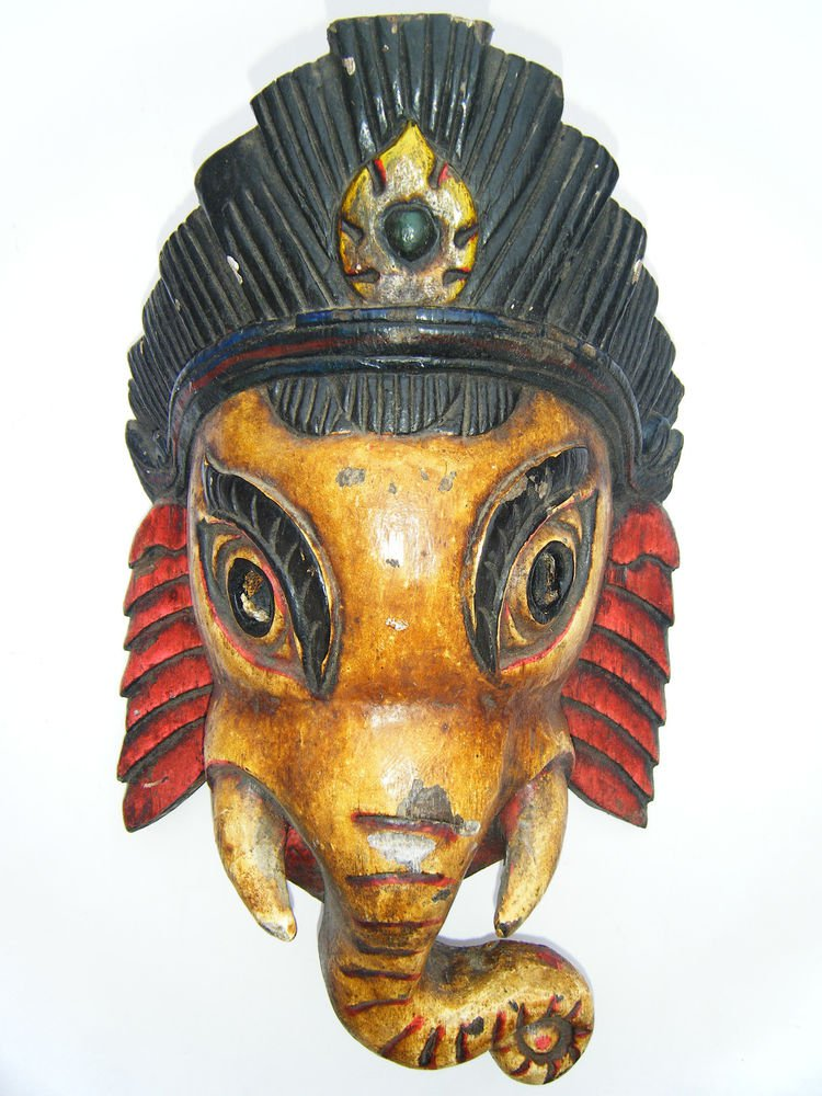 Ganesha Wooden Mask, Old Rare Hand Coloured Handmade Original Indian Mask  #1579