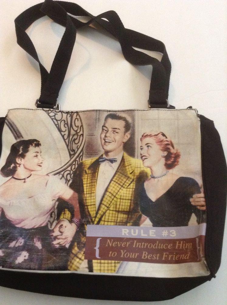 Vintage Relic brand womans handbag purse Never Introduce Him To Your Best Friend