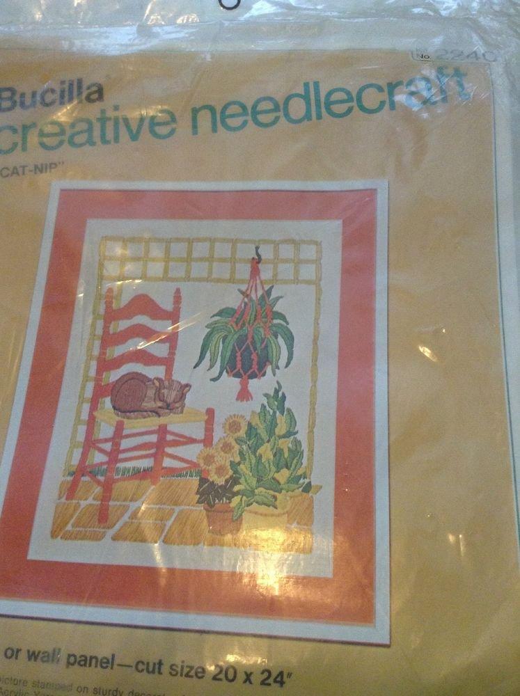 "BUCILLA CREATIVE NEEDLECRAFT KIT ""CAT-NIP"" PICTURE  20"" X 24"""