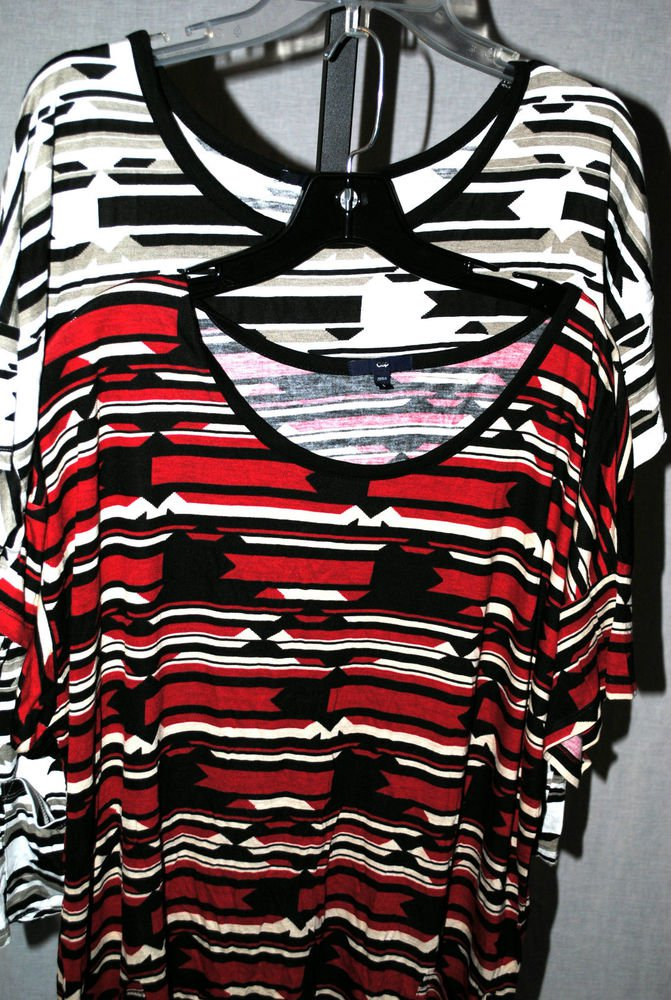 2 x GAP Mixed Print Tribal Multi-Color Top Blouse XSMALL Short Sleeves