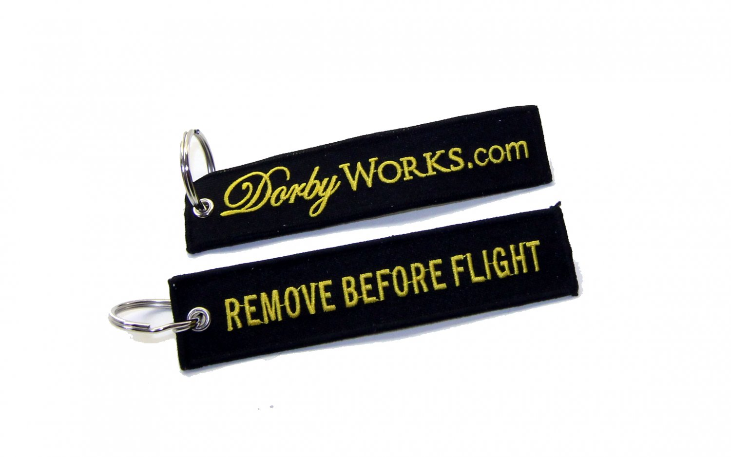 Dorbyworks remove before flight keychain GOLD