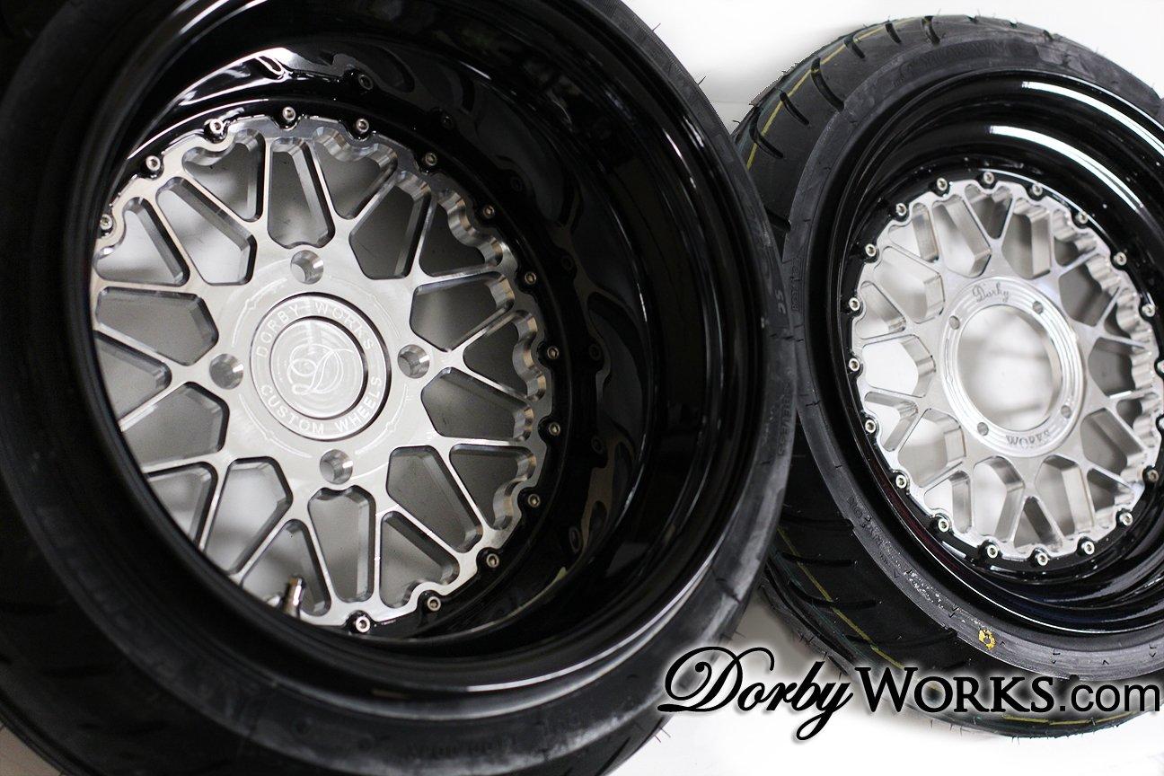 "Honda Ruckus wheels rims MESH LOVE  12"" FRONT / 13"" REAR - GLOSS BLACK LIP tires mounted"