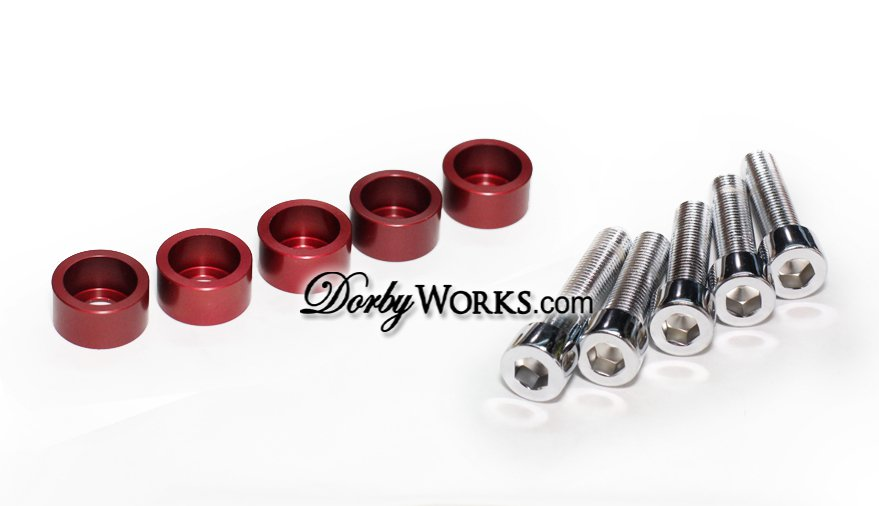 Honda Ruckus Frame Chrome bolt kit , billet washer, 10 piece kit,  RED anodized
