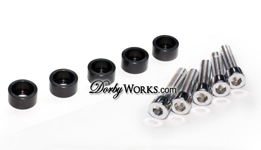 Honda Ruckus Frame Chrome bolt kit , billet washer, 10 piece kit BLACK anodized
