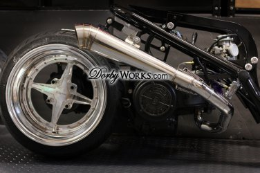 Honda Ruckus Overhead GY6 GP COMPLETE exhaust system bolt on - POLISHED
