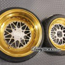 "MESH LOVE GOLD BARREL FULL 13"" x4 / x8 / tires mounted"