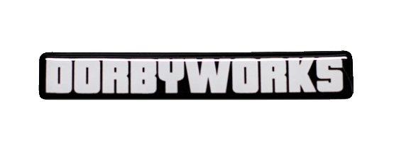 """DORBYWORKS Emblem .5"""" x 3"""" white"""