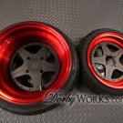 "Honda Ruckus SUPERSTARS 13"" custom  FLAT BLACK CENTER  Candy Red Barrel / LIP"