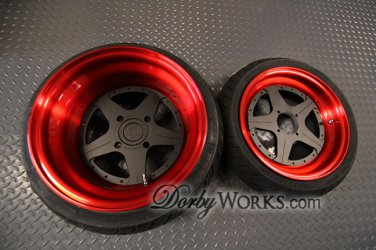 "Honda Ruckus SUPERSTARS 13"" custom  FLAT BLACK CENTER  Candy Red Barrel / LIP"