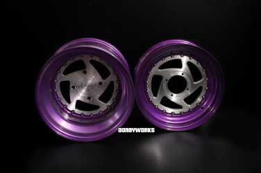 """2 PIECE SERIES """" 5 star directional """" Grape Brushed 5 star directional wheels rims + tires mounted"""