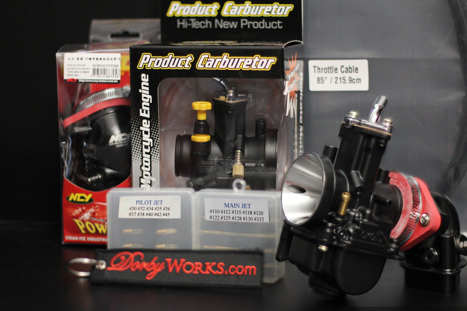 Dorbyworks custom OKO 30mm carburetor BUNDLE package  , cable , NCY intake, Pilot, Main jets