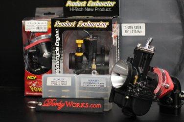 Dorbyworks custom OKO 30mm carburetor BUNDLE package  , cable , NCY intake, Pilot, Main jets