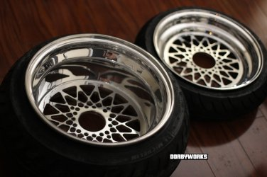 """""""MESH R """" custom rims super staggered setup 12 front / 13 rear - TIRES MOUNTED"""