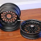 "MESH R flat black - powder coated 12"" front / 12x8 rear wide - front hub included"