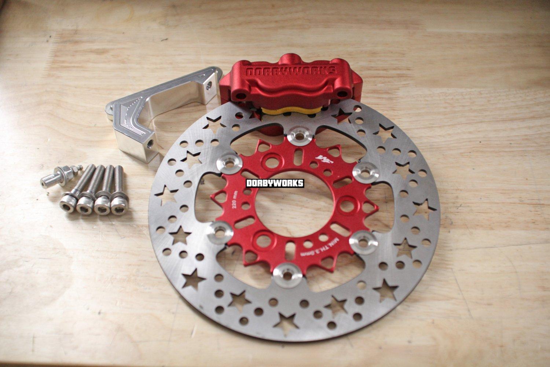 Honda Ruckus Dorbyworks 4 piston billet caliper kit RED