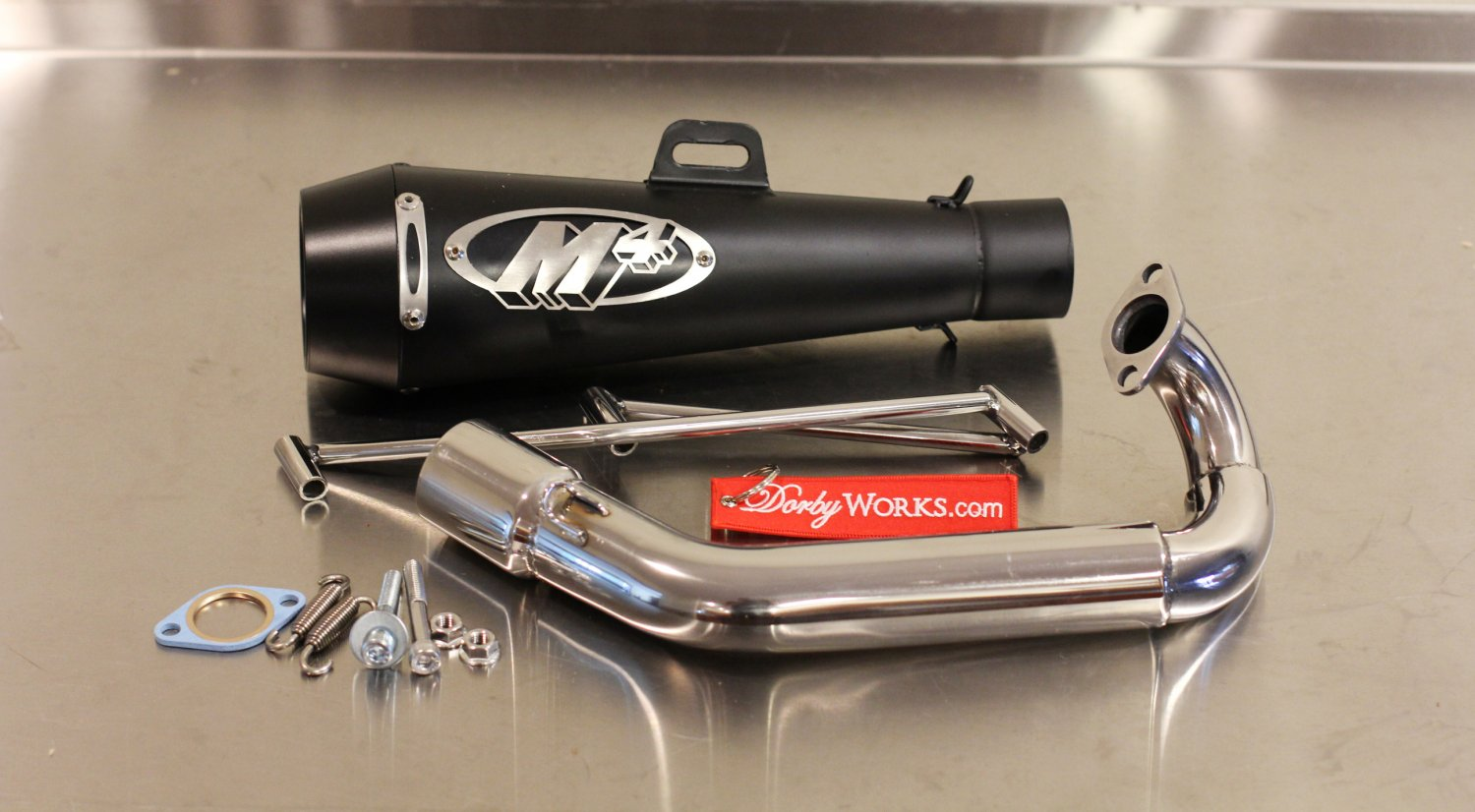 Dorbyworks Honda Ruckus Overhead GY6 Black M4 COMPLETE exhaust system