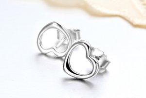 925 Sterling Silver Heart-Shaped Earrings,Love Stud Earrings,Valentines',Girlfriend Gift