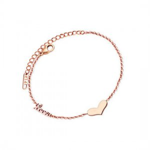 Tiny Heart / LoveU Titanium Stainless Steel Bracelet - Dainty Everyday Wear