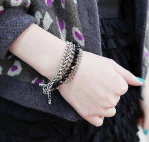 � BIG BANG (Jiyong) SUPER JUNIOR (Kim Hee Chul) - Multilayer Black Pearl Bracelet