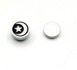 Pair of Mens Surgical Stainless Steel Moon Star Clip-on Magnetic Stud  - No Piercing