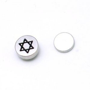 Pair of Mens Surgical Stainless Steel Hexagram Figure Clip-on Magnetic Stud