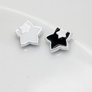 Pair of Black Double Star Clip on MAGNETIC Silicone Earrings Lady Men's