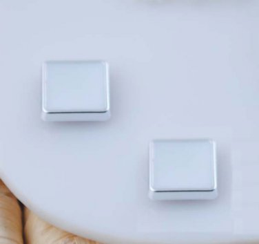 Pair of White Square Magnetic CLIP ON Earring Studs