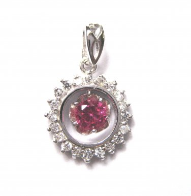 925 Sterling Silver ROUND PINK Halo Solitaire CZ PENDANT