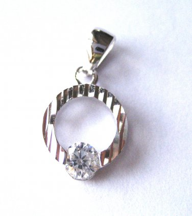 925 Sterling Silver CIRCLE with CZ PENDANT