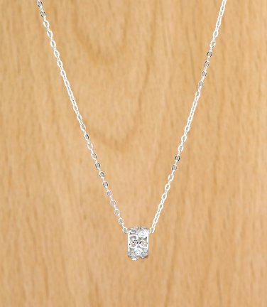 925 Sterling Silver CARVING FLOWER HOLLOW White Crystals CZ Pendant Necklace