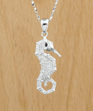 925 Sterling Silver Accent SEAHORSE CZ PENDANT