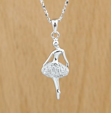 925 Sterling Silver BALLERINA DANCING GIRL White Crystals CZ PENDANT